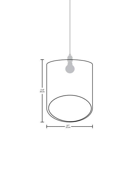 Technical specifications for the small sized Flauta modern handmade copper pendant light