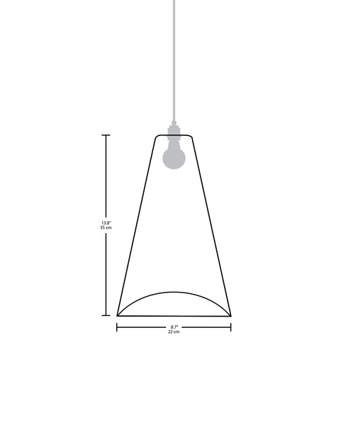 Technical specifications for the Cono modern handmade copper pendant light