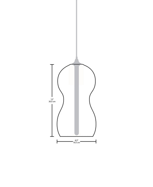 Technical specifications for the Cacahuate modern handblown glass pendant light