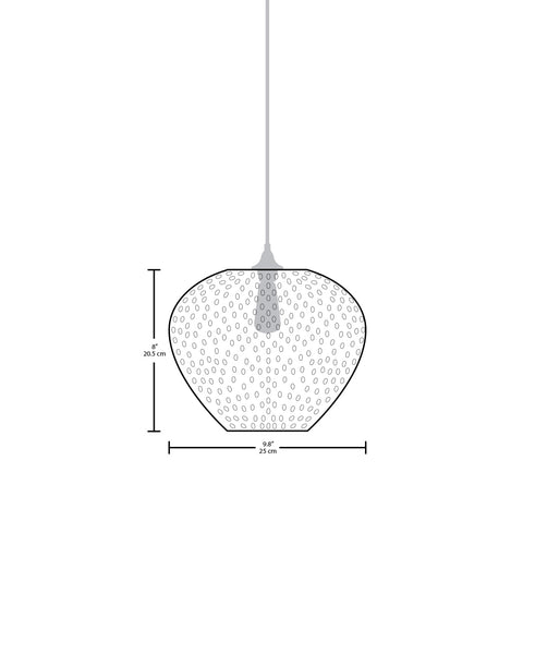 Technical specifications for the Rustica modern handblown glass pendant light