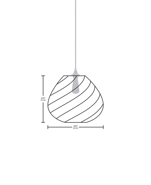 Technical specifications for the Twisters modern handblown glass pendant light