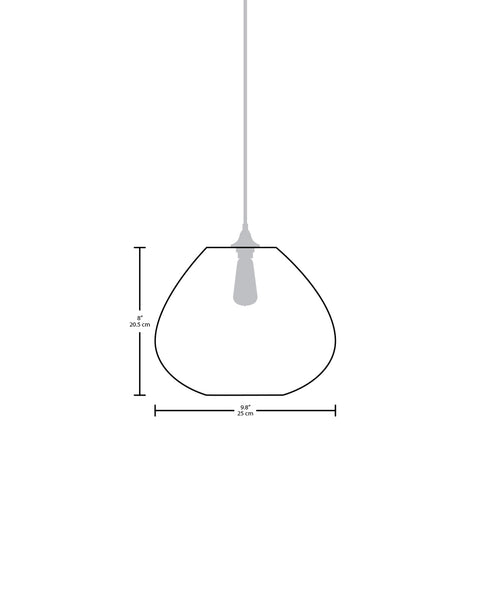 Technical specifications for the Perla modern handblown glass pendant light