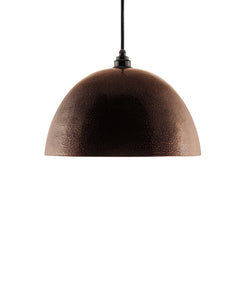 Modern hemisphere shaped hand made copper pendant lamp with a contemporary natural recycled finish.