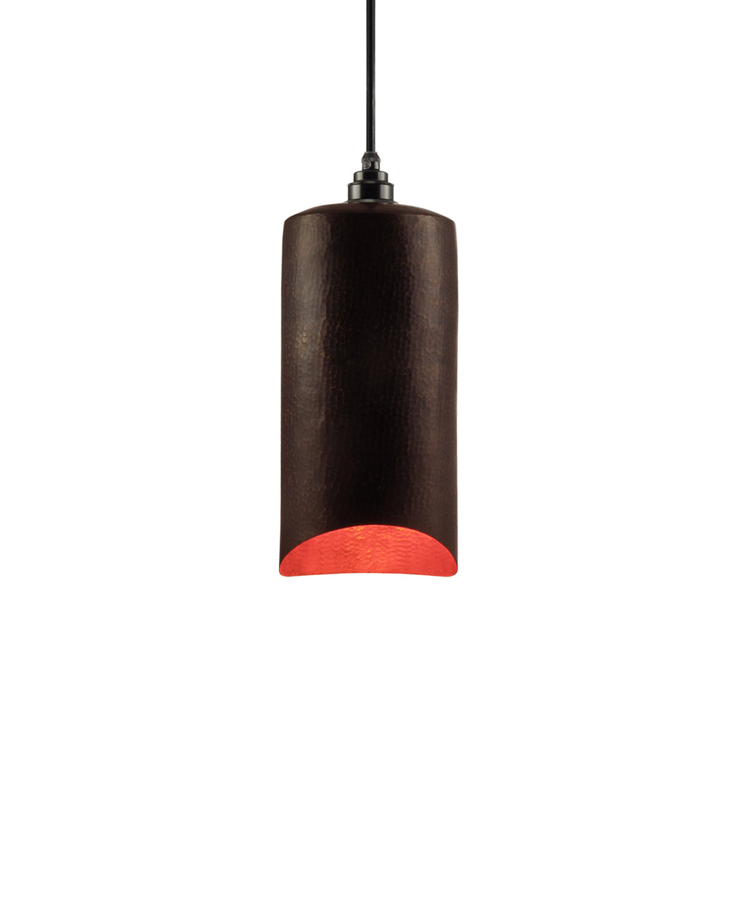 Modern hand made small cylindrial shaped copper pendant lamp in a warm brown copper patina finish