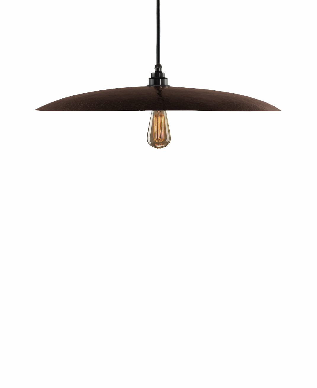 Beautiful Modern hand made large curved copper pendant lighting in a warm brown copper patina finish.