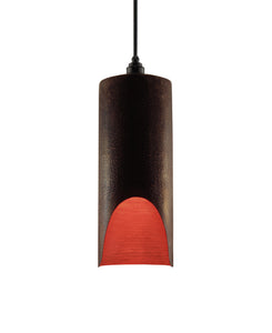 Modern hand made large cylindrial shaped copper pendant lamp in a warm brown copper patina finish