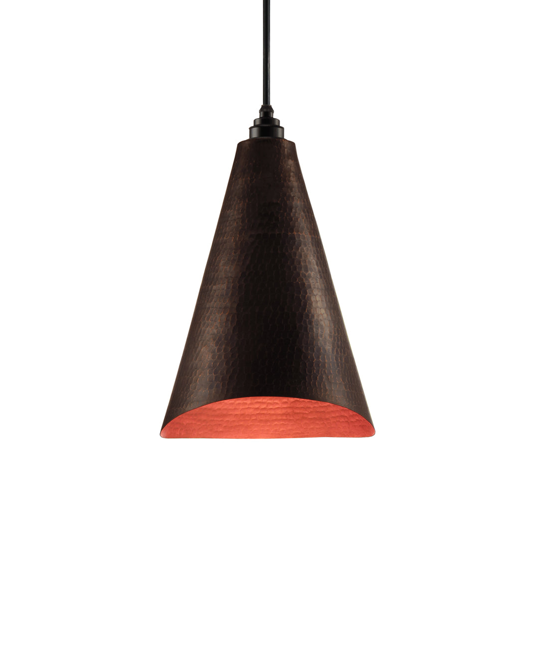 Modern hand made Cone shaped copper pendant lamp in a warm brown copper patina