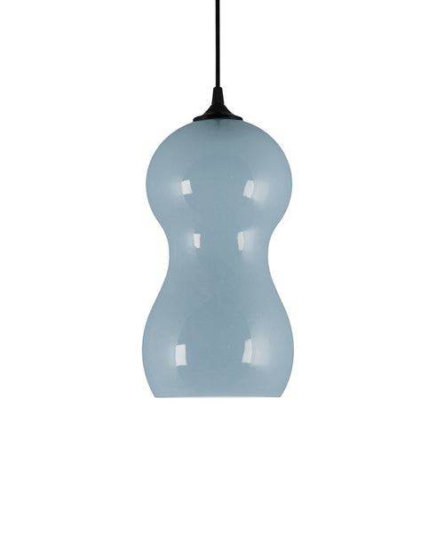 curvaceous modern ceramic pendant lamp in light river blue