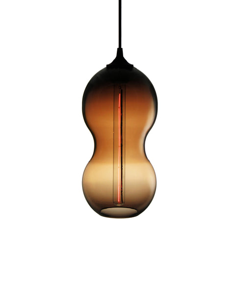 Curvaceous hand blown glass pendant lamp in warm brown