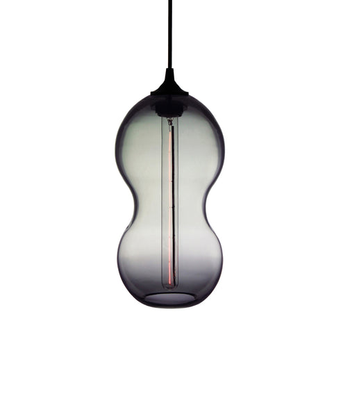 Curvaceous hand blown glass pendant lamp in smokey gray
