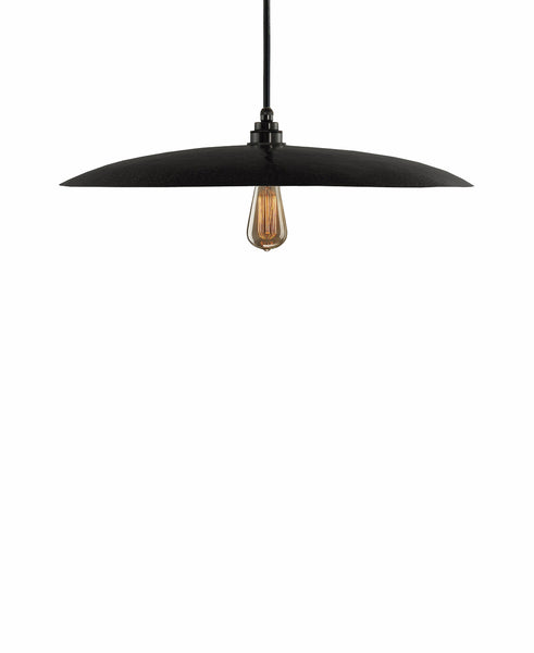Beautiful Modern hand made large curved copper pendant lighting in a charcoal gray patina finish.