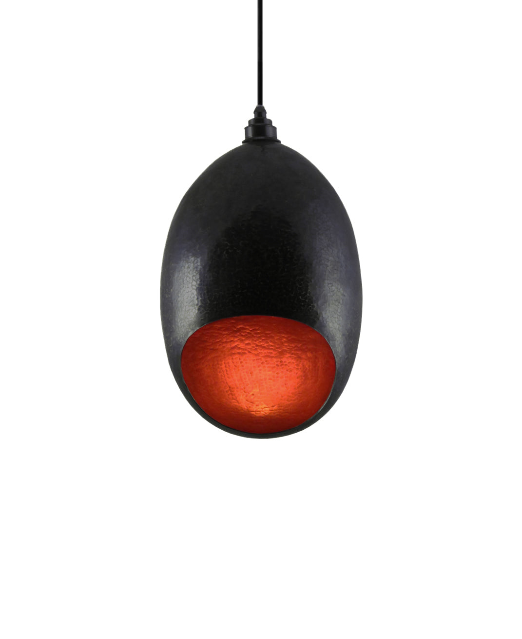 Modern hand made large Cocoon shaped copper pendant lamp in a charcoal gray copper patina