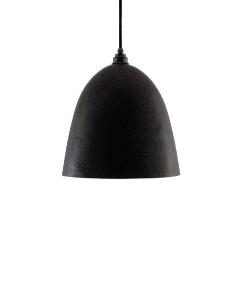 Modern Bell shaped hand made copper pendant lamp with a contemporary charcoal gray finish