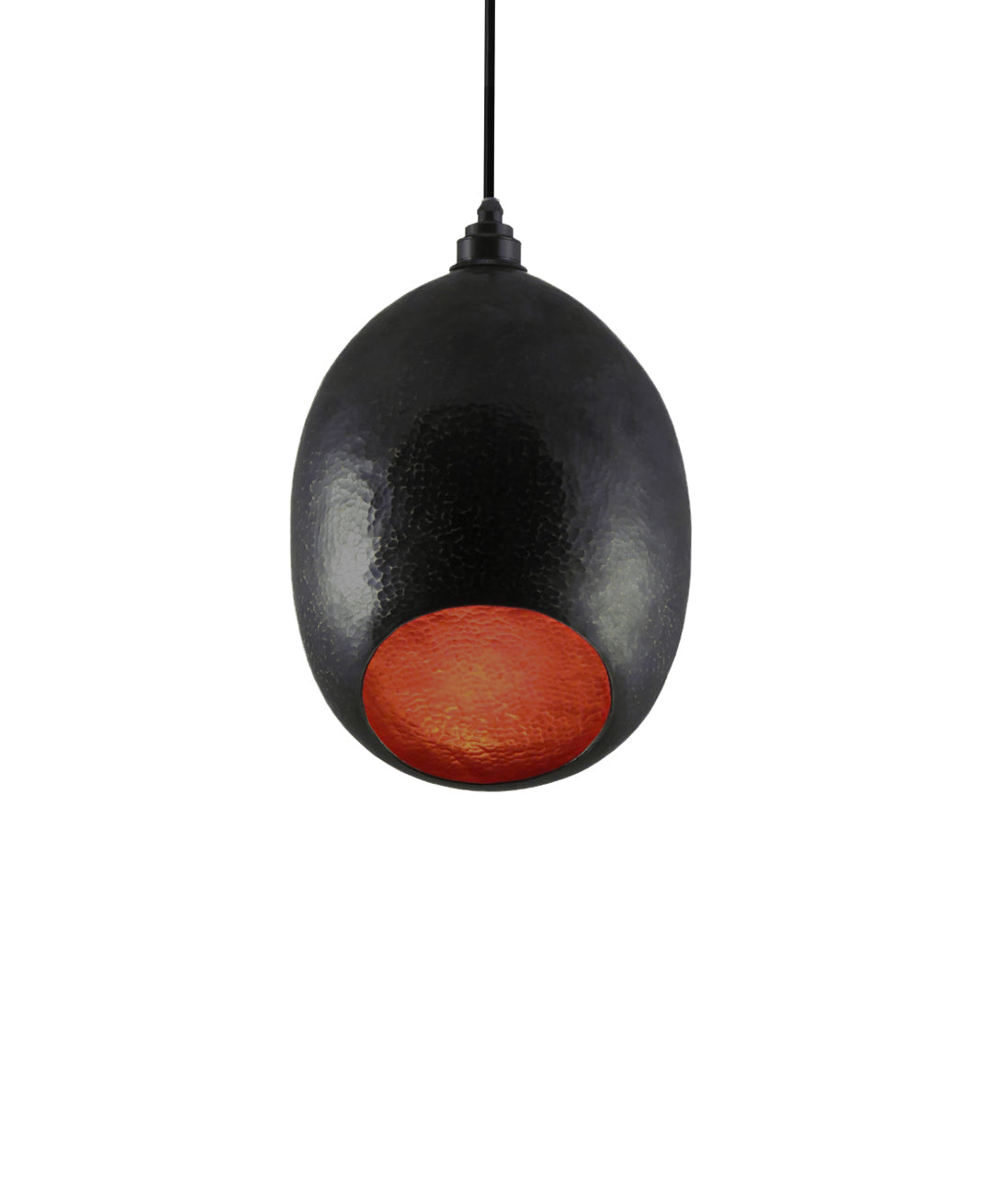 Modern hand made Small Cocoon shaped copper pendant lamp in a charcoal grayr patina
