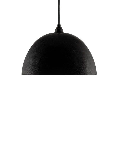 Modern hemisphere shaped hand made copper pendant lamp with a contemporary charcoal gray finish