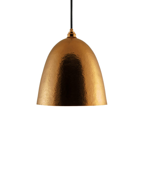 Modern Bell shaped hand made copper pendant lamp with a contemporary golden patina finish