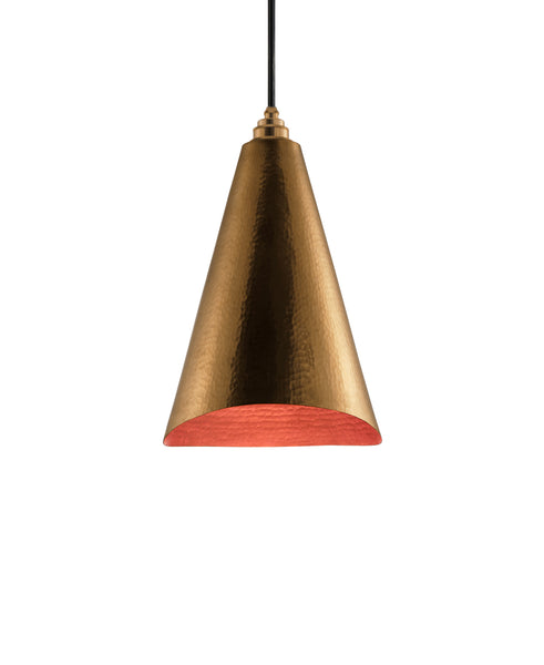Modern hand made Cone shaped copper pendant lamp in a gold copper patina