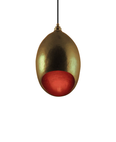 Modern hand made Medium Cocoon shaped copper pendant lamp in a Gold copper patina