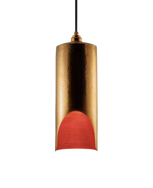Modern hand made large cylindrial shaped copper pendant lamp in a gold copper patina finish