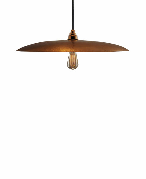 Beautiful Modern hand made large curved copper pendant lighting in a gold copper patina finish.