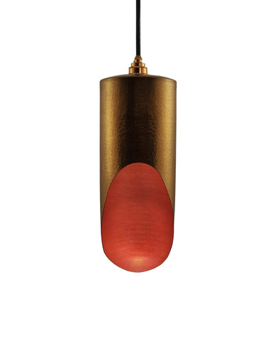 Modern hand made Medium cylinder shaped copper pendant lamp in a gold copper patina finish