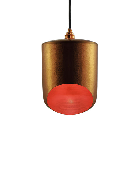 Modern hand made small cylinder shaped copper pendant lamp in a gold copper patina finish
