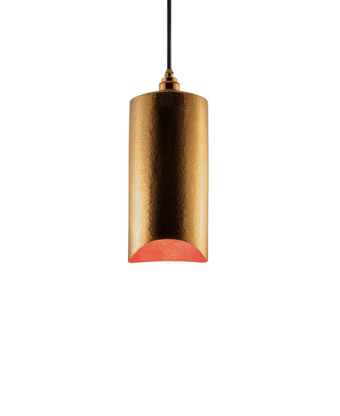 Modern hand made small cylindrial shaped copper pendant lamp in a gold copper patina finish