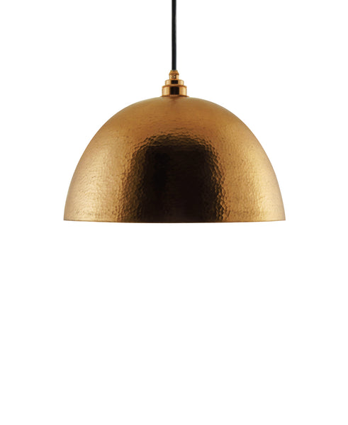 Modern hemisphere shaped hand made copper pendant lamp with a contemporary gold copper finish