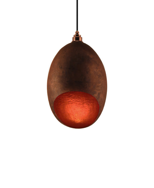 Modern hand made large Cocoon shaped copper pendant lamp in a natural recycled copper finish