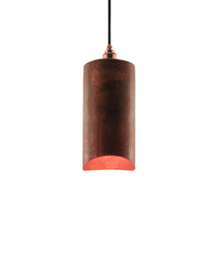 Modern hand made small cylindrial shaped copper pendant lamp in a recycled natural copper finish