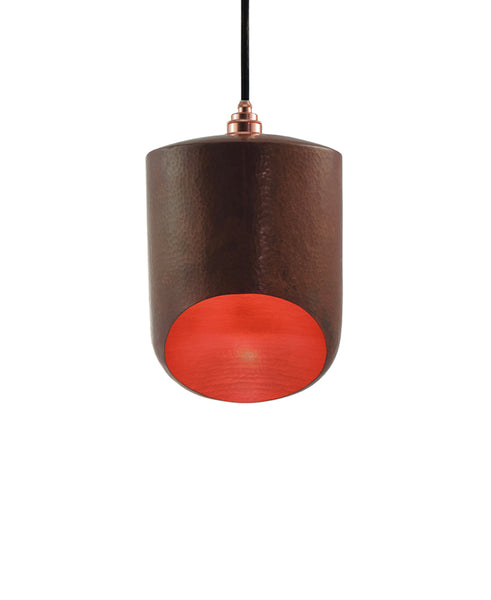 Modern hand made small cylinder shaped copper pendant lamp in natural recycled copper finish
