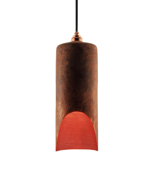 Modern hand made large cylindrial shaped copper pendant lamp in a recycled natural copper finish