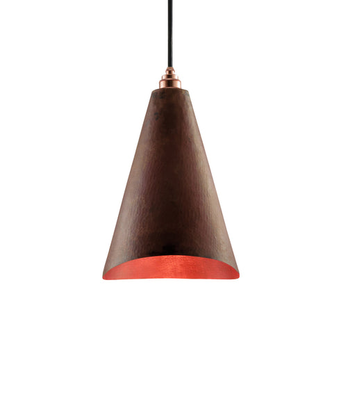Modern hand made Cone shaped copper pendant lamp in a recycled natural copper finish