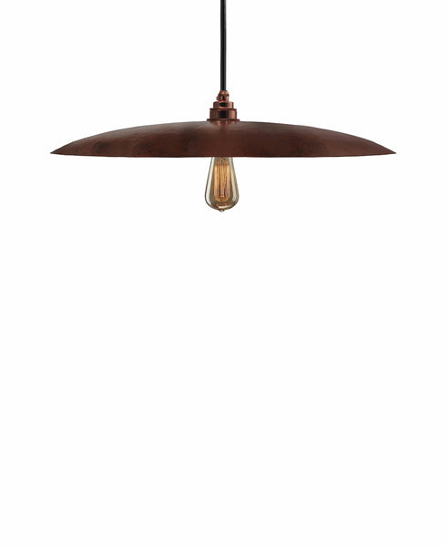 Beautiful Modern hand made large curved copper pendant lighting in a natural recycled copper finish.