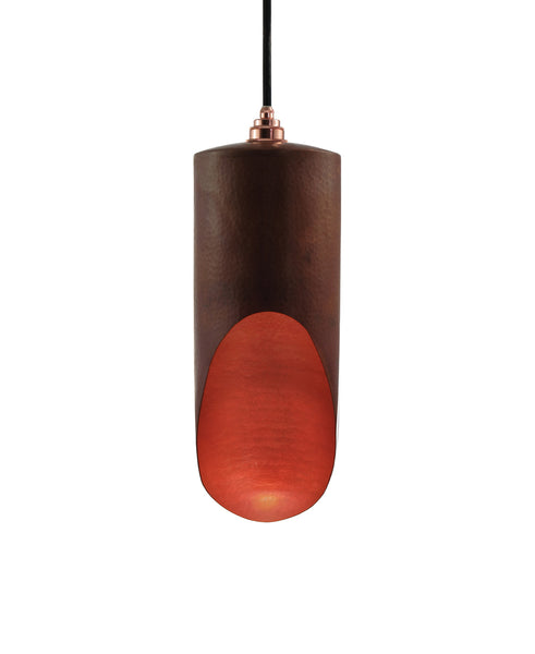 Modern hand made Medium cylinder shaped copper pendant lamp in a natural recycled copper finish