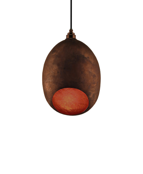 Modern hand made Small Cocoon shaped copper pendant lamp in a Recycled natural copper finish