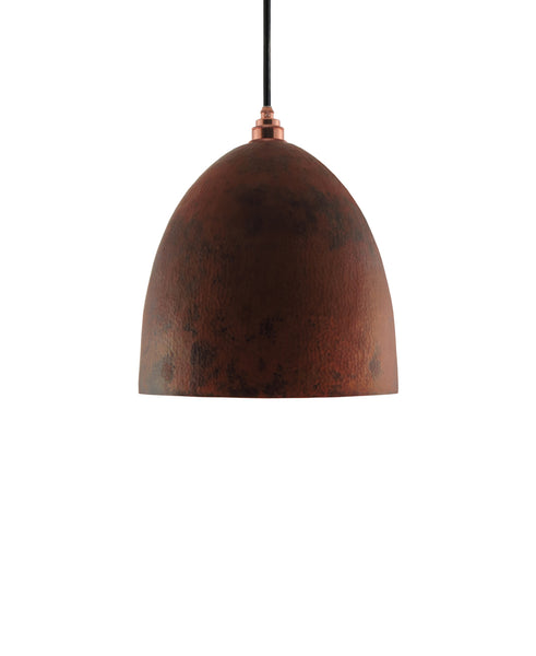 Modern Bell shaped hand made copper pendant lamp with a contemporary natural recycled copper finish