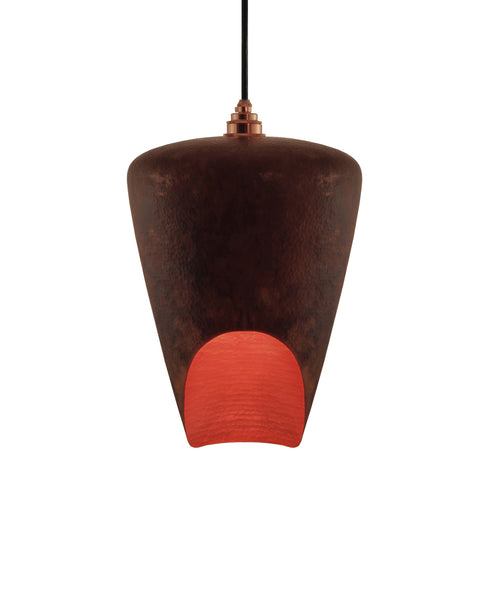Beautiful modern hand made copper pendant lighting in a brown copper patina