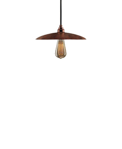 Besautiful Modern hand made smal cureved copper pendant lighting in a natural recycled copper finish.