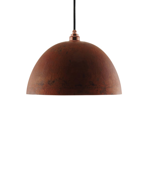 Modern hemisphere shaped hand made copper pendant lamp with a contemporary warm brown finish