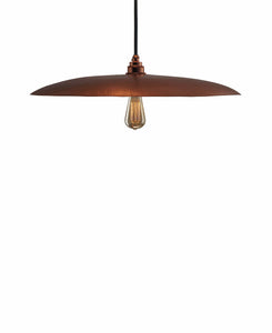 Beautiful Modern hand made large curved copper pendant lighting in a polished copper finish.