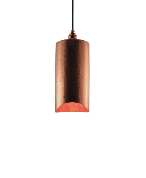 Modern hand made small cylindrial shaped copper pendant lamp in a polished copper finish