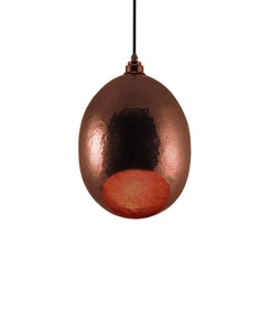 Modern hand made Small Cocoon shaped copper pendant lamp in a polished copper finish