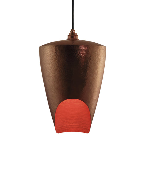 Beautiful modern hand made copper pendant lighting in a golden copper patina