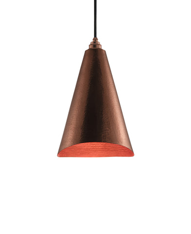 Modern hand made Cone shaped copper pendant lamp in a polished copper finish