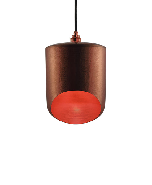Modern hand made small cylinder shaped copper pendant lamp in polished copper finish