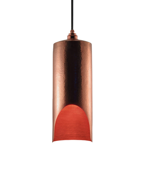 Modern hand made large cylindrial shaped copper pendant lamp in a polished copper finish