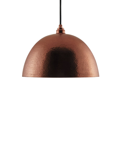 Modern hemisphere shaped hand made copper pendant lamp with a contemporary polished copper finish