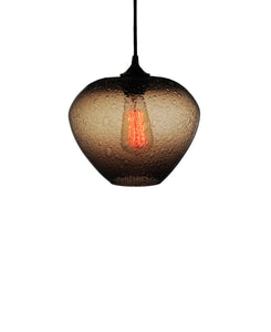 rounded hand blown glass pendant lamp in warm brown