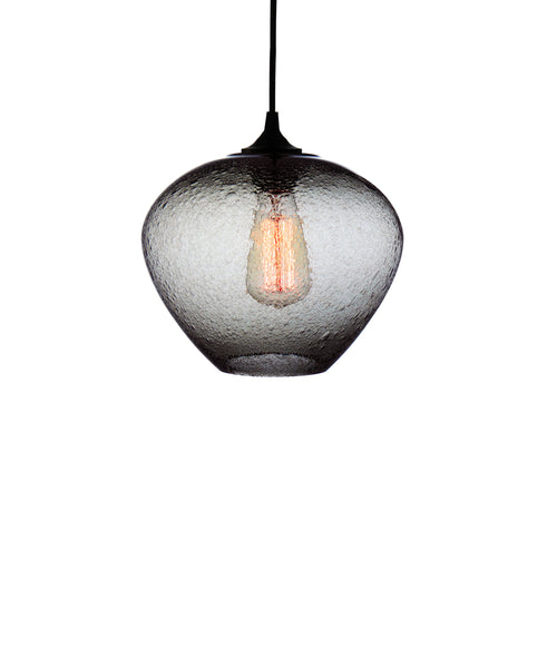 rounded hand blown glass pendant lamp in smokey gray
